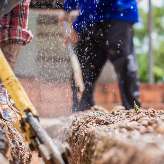 digging for plumbing repair